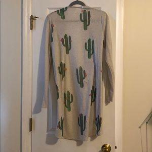 Boutique Long Beige Cactus Cardigan Size Large